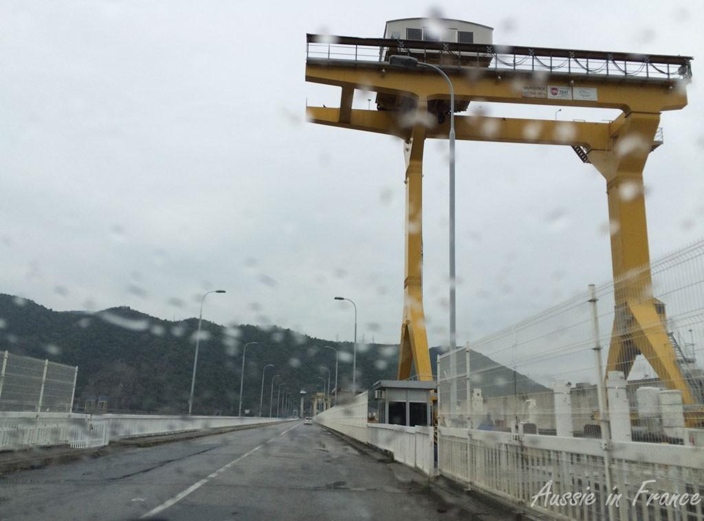 Crossing the Derdap dam in the rain