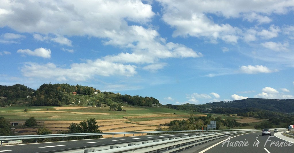 Whizzing past typical Slovenian countryside on the motorway