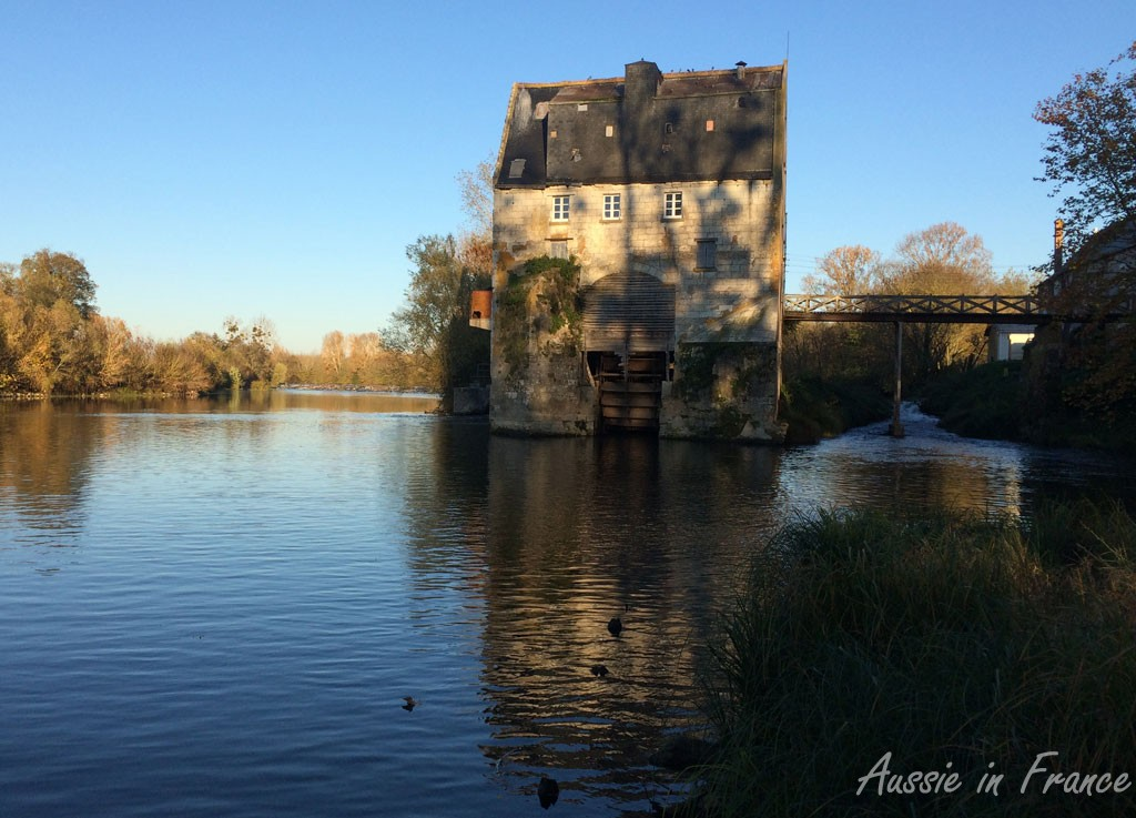 The old mill at Grands Moulins de Bassan - the photo was taken on the return journey which explains all the shadows