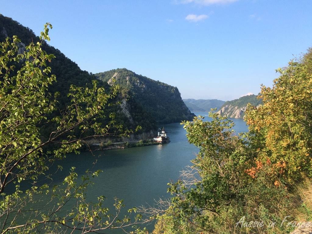 The church on the edge of the Danube below, on the Romanian side