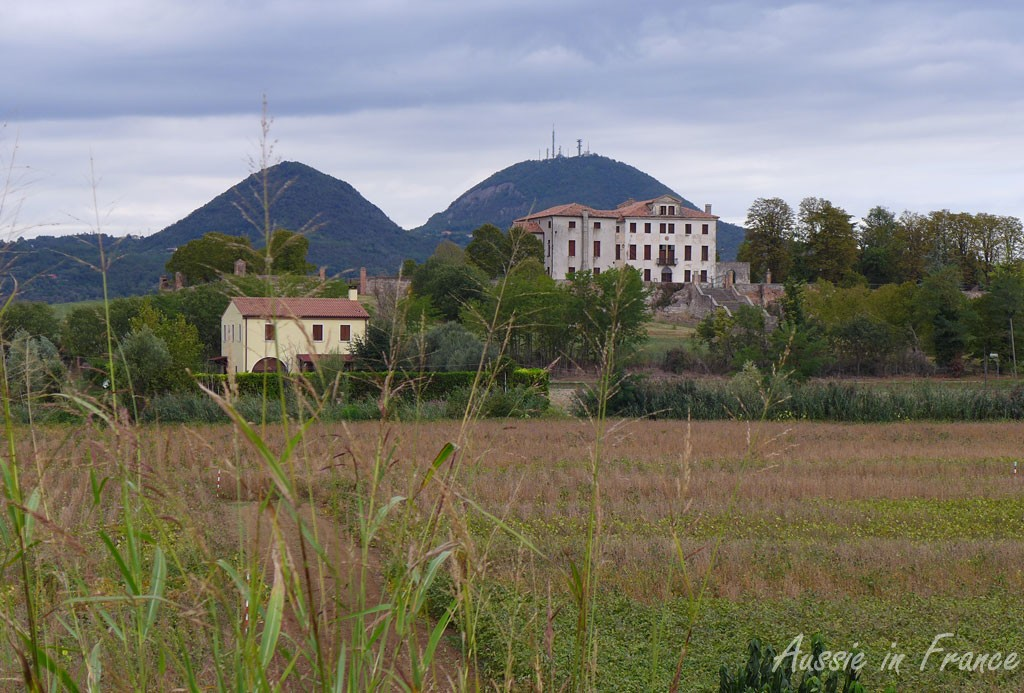 The view of hte Euganei Hills from the bike path leaving Monselice