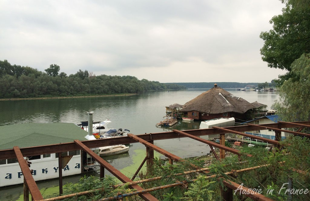 A thatched roof house boat on the Danube