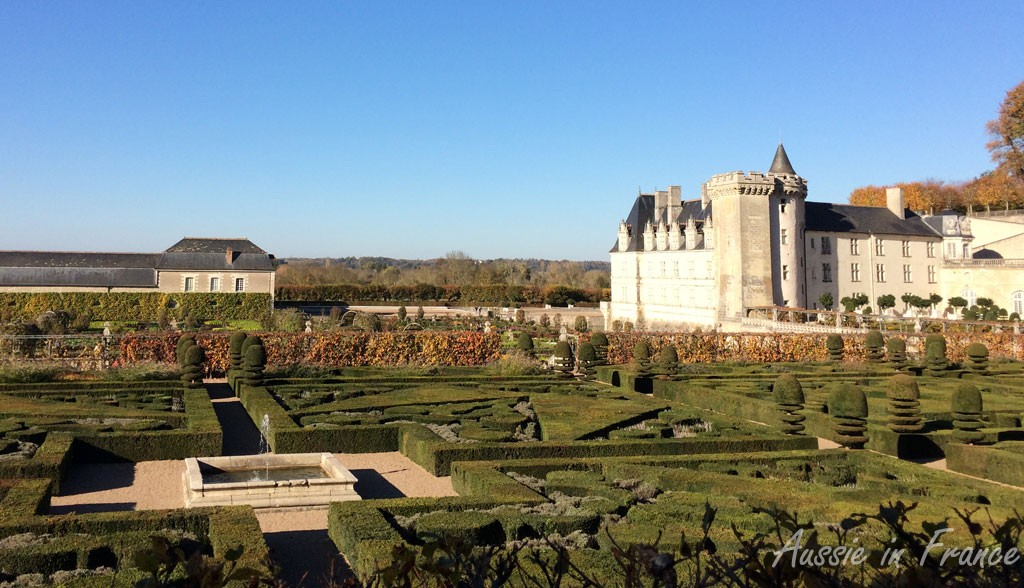 The gardens at Villandry with the vegetable gardens in the background