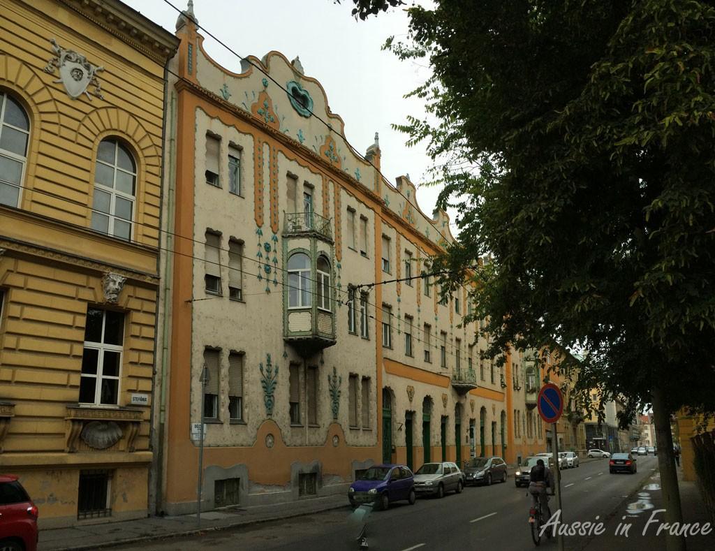 An oriel window on a decorative façade