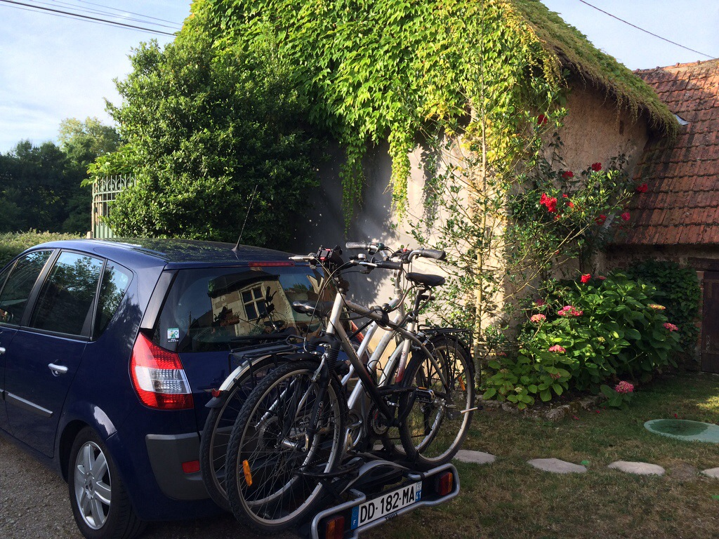 Our bikes on our Thule bike rack which enables you to open the boot of the car with the bikes attached