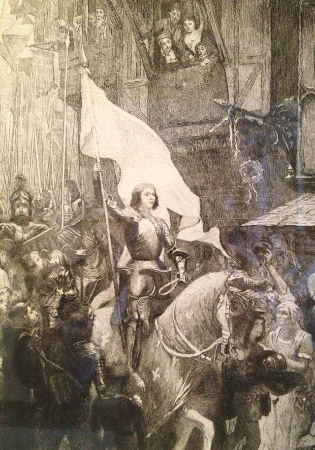 Joan of Arc brandishing her banner