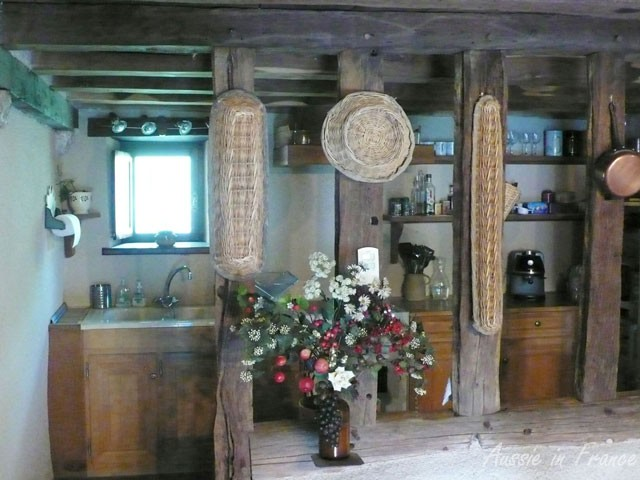 The division between the kitchen and dining area in the big house