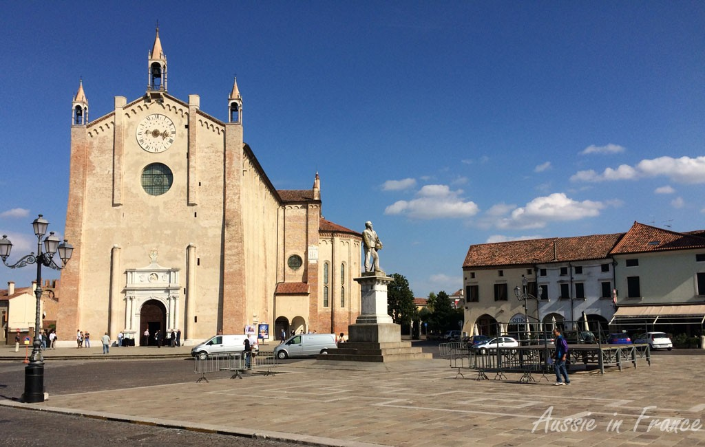 The cathedral in the main piazza in Montagnana