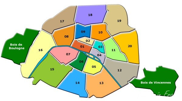 The 20 arrondissements in Paris forming a spiral