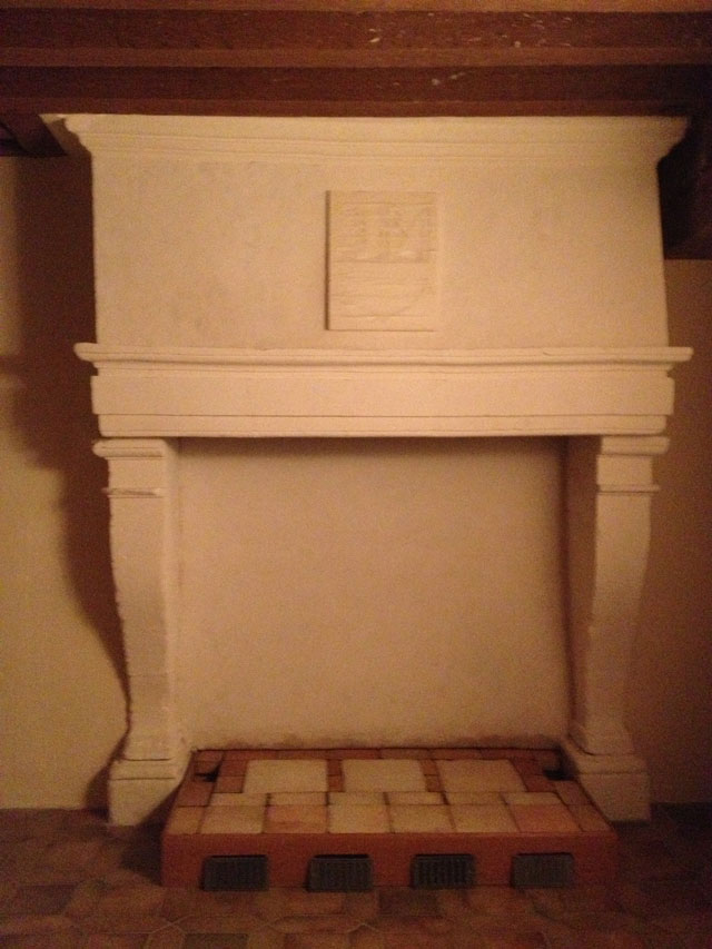 The fireplace as we were leaving Blois (with the coat of arms taped up for protection)