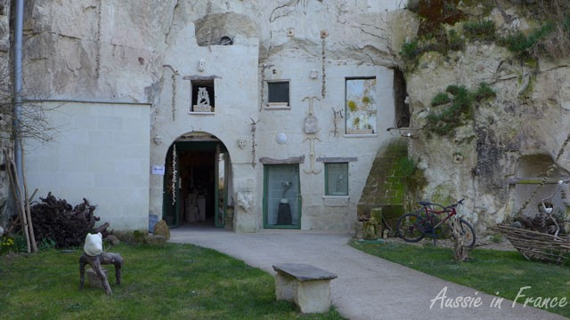 Troglodyte dwellings converted into artists studios in Tursquant