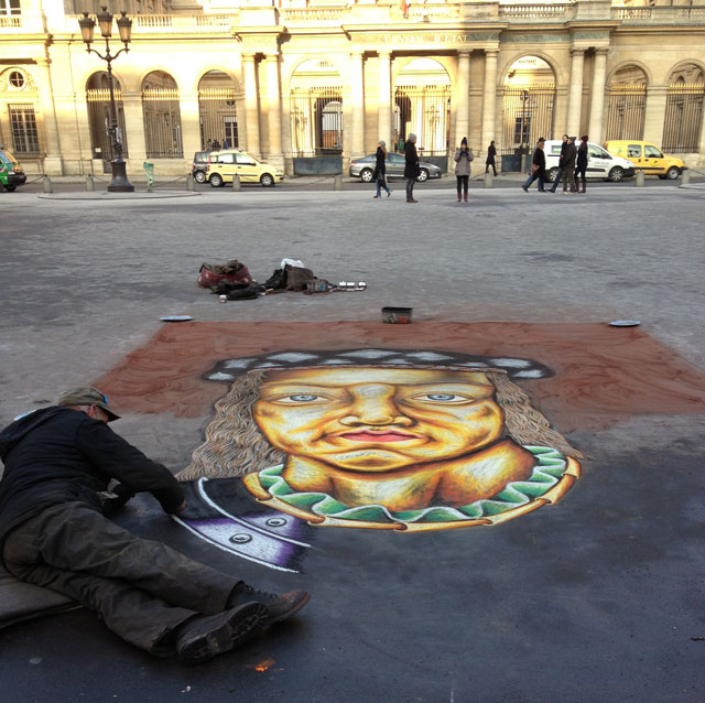 Pavement artist nearly finished three hours later