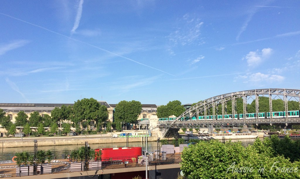 View of Austerlitz train station and bridge from the opposite side of the Seine