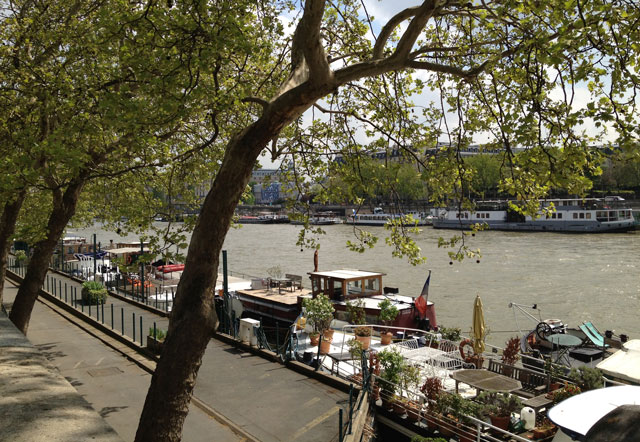 House boats on the Seine in spring