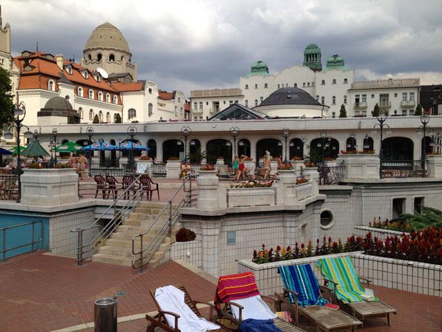 Outside pools  facing towards Gelert hotel