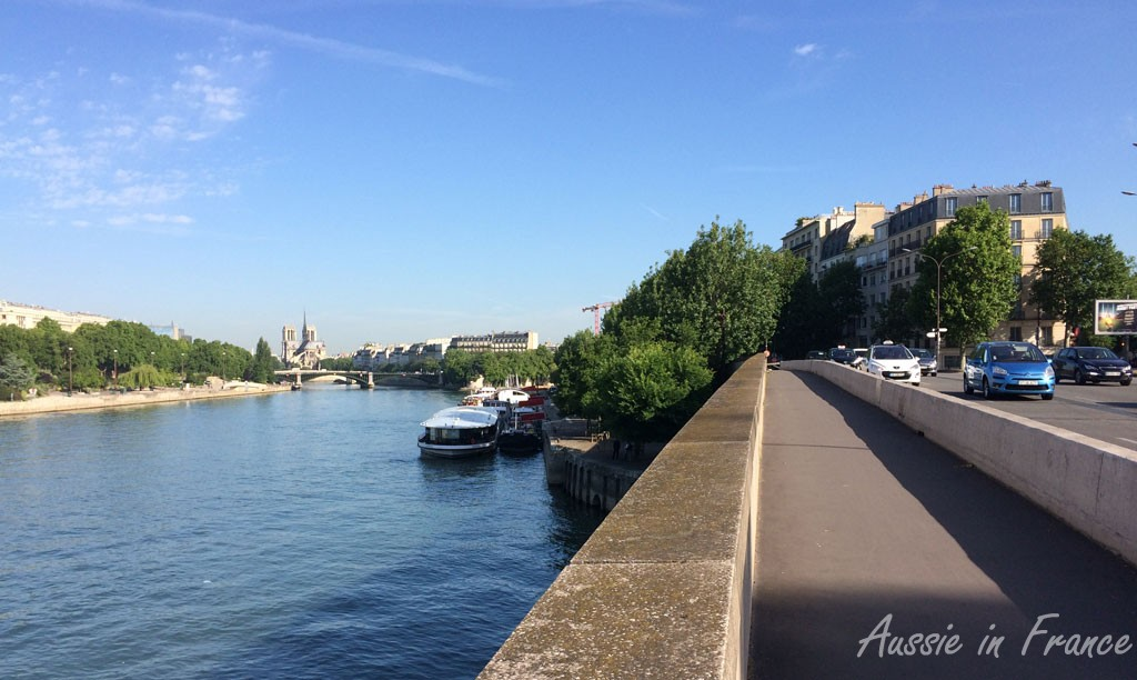 On the bike path! Great view of Notre Dame though