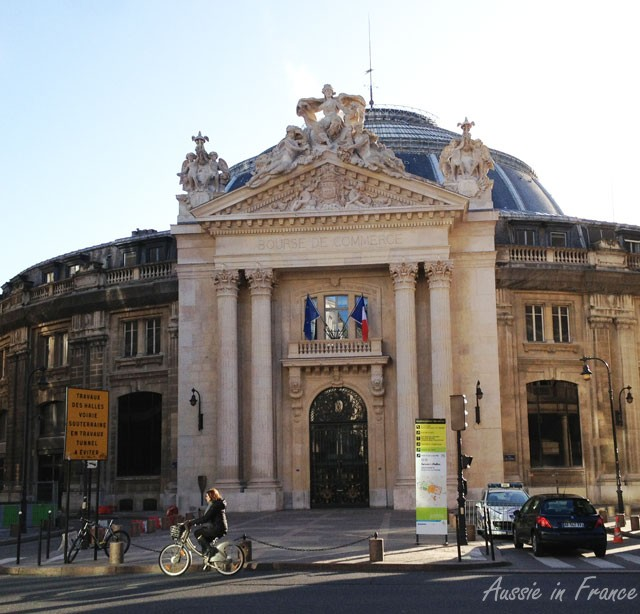 The newly renovated façade of the Bourse du Commerce