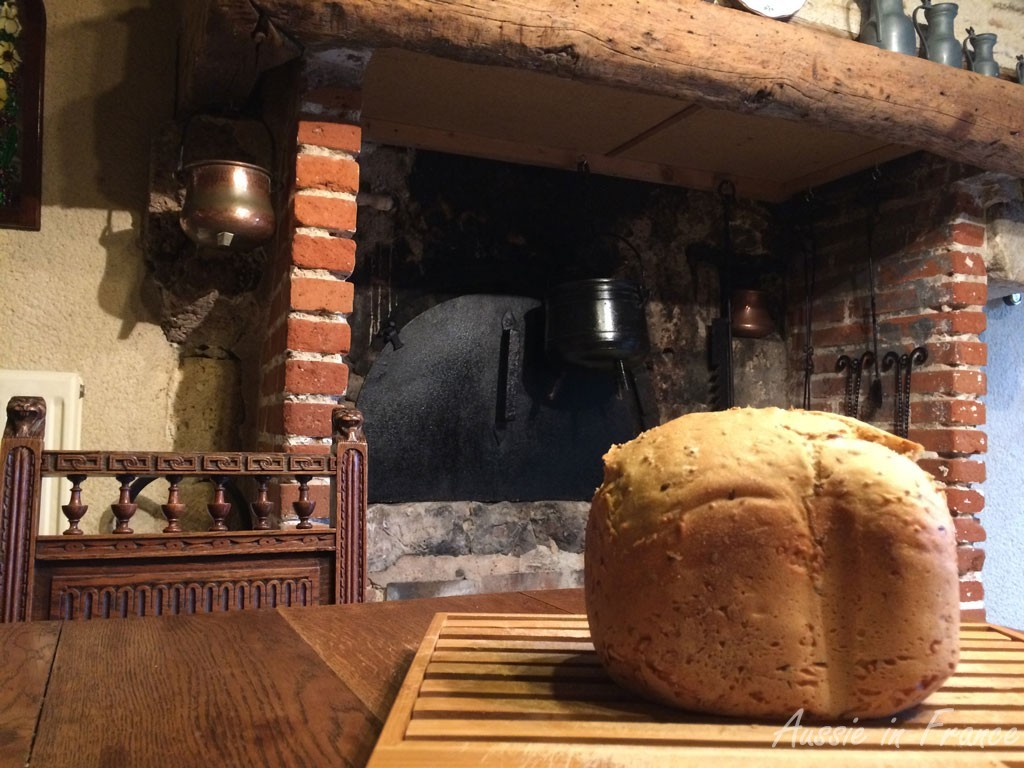 Freshly baked bread in front of our (non-functioning) bread oven