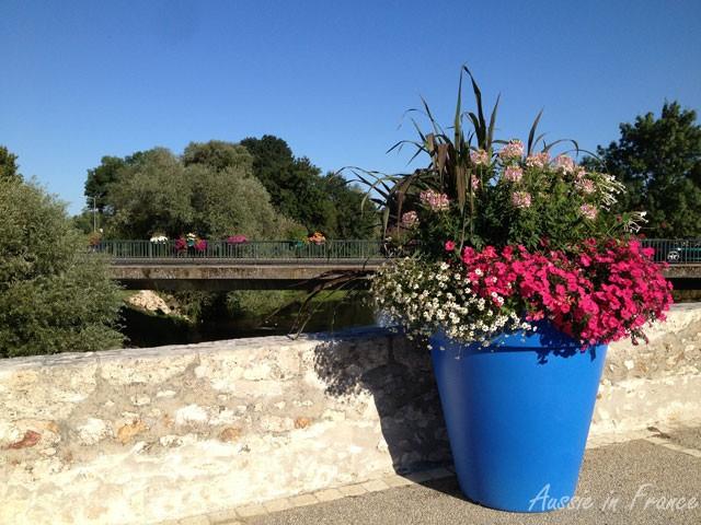 Giant flower pot on the pedestrian bridge at Candé sur Beuvron