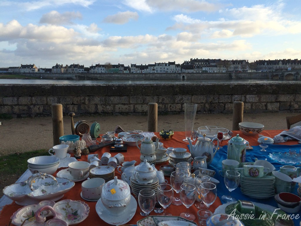Blois brocante held on the second Sunday of each month with Vienne in the background