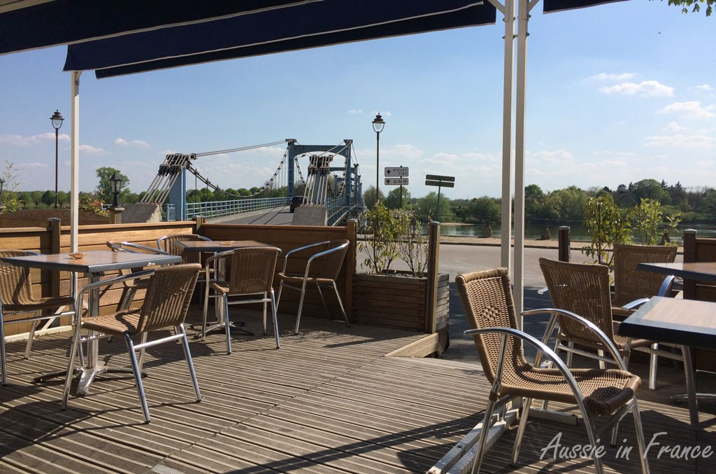 View from the cafe at the end of the bridge in Châteauneuf-sur-Loire