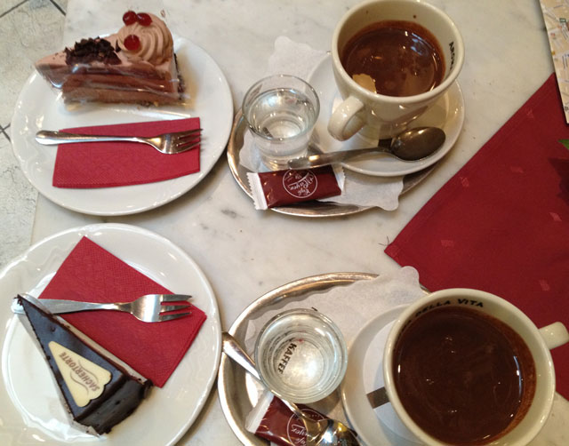 Indulging in cake and hot chocolate in Bratislava