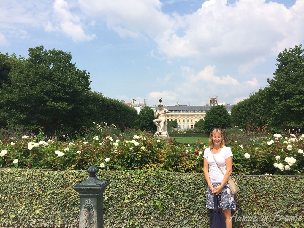 Catching up with Australian friends in Paris - Carolyn from Holidays to Europe in the Palais Royal Gardens