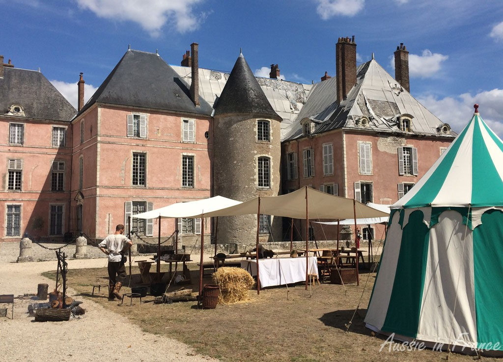 Mediaeval tents in front of the castle in Meung