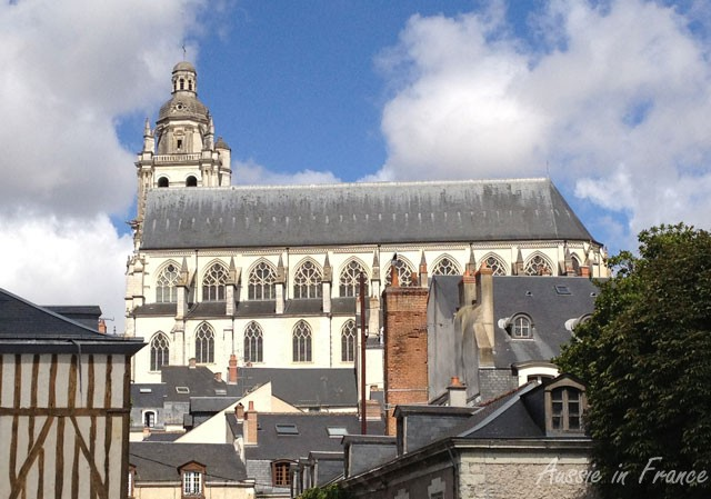 Blois Cathedral seen from the esplanade along the river
