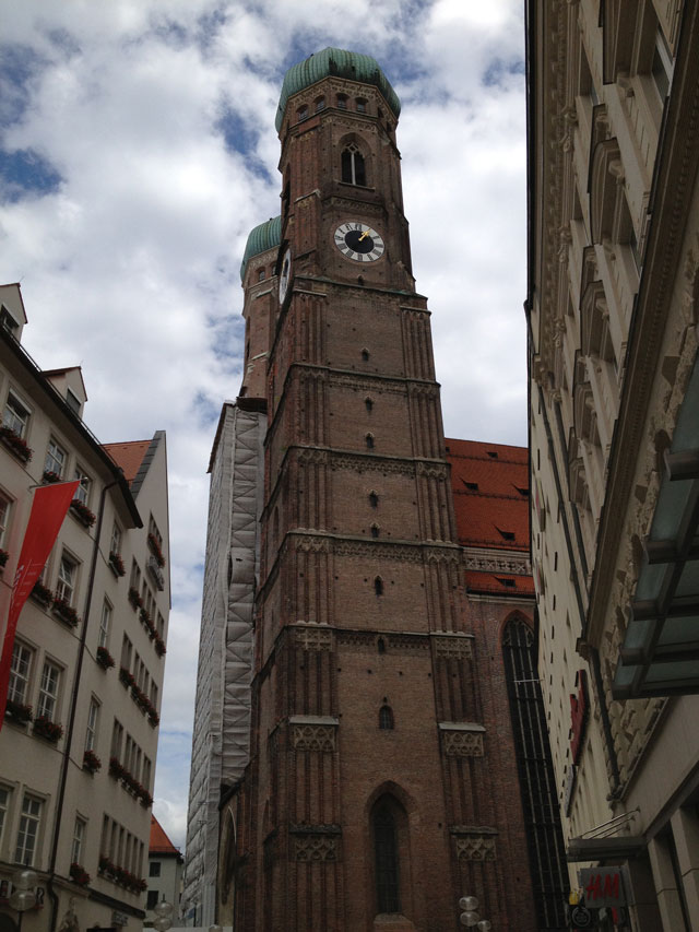 Frauenkirche - Notre Dame Cathedral - late Gothic church, taken from the side - there are actually two towers