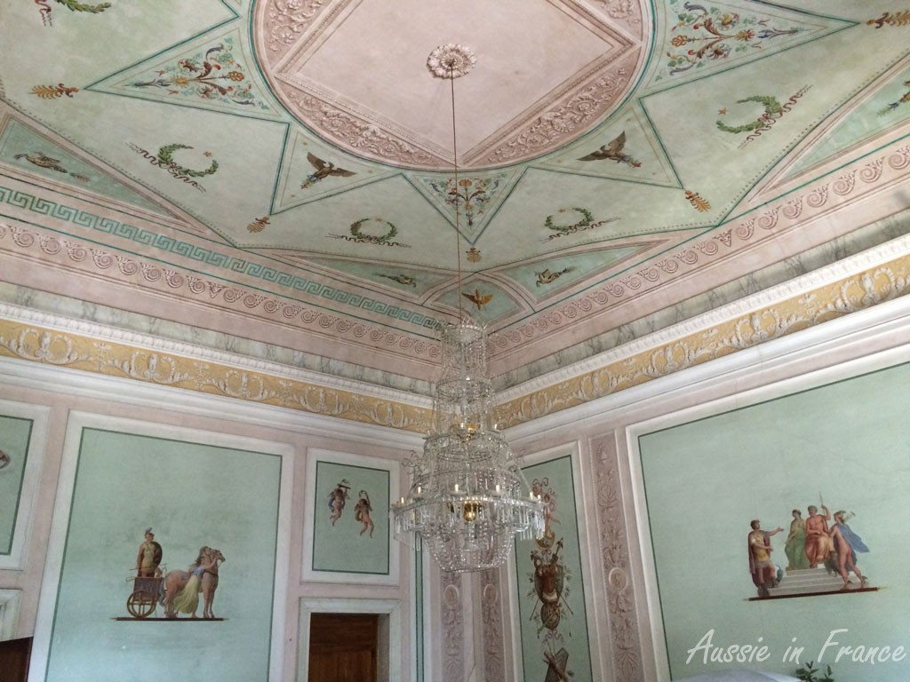 One of the more delicate ceilngs at Villa Pisani