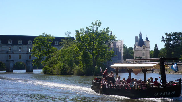 Tourist boat at Chenonceau in May 2012