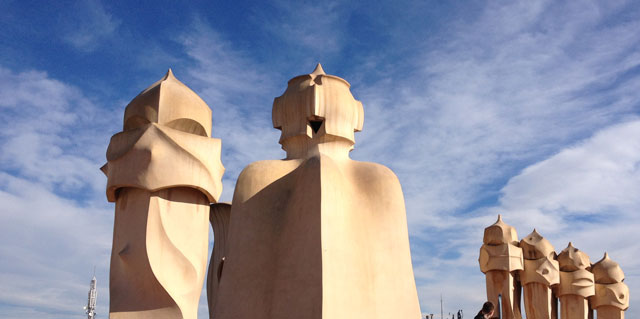 Human-looking chimneys on La Pedrera