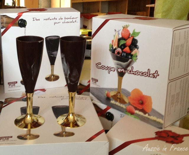 Chocolate champagne glasses, no less!
