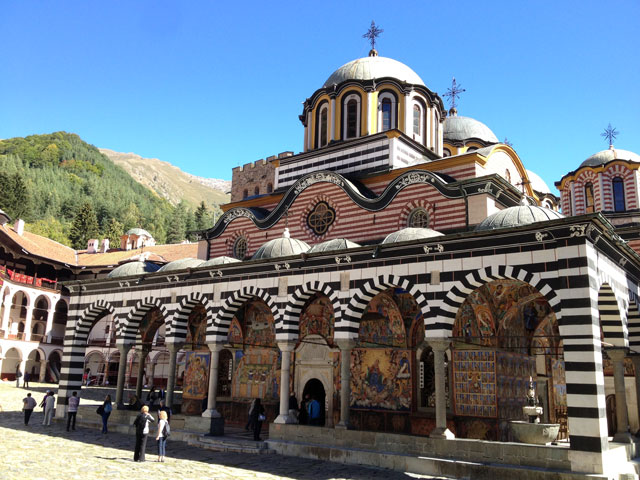 The main church with its 19th century frescoes