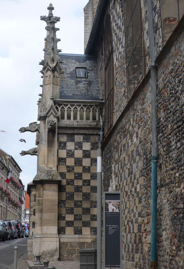 Abbey church with its checkerboard pattern