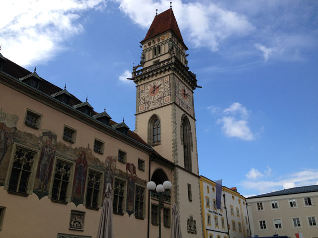 Clock tower on the Town Hall in Passau