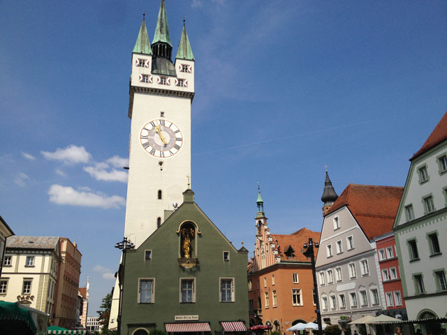 The clock tower in Straubing
