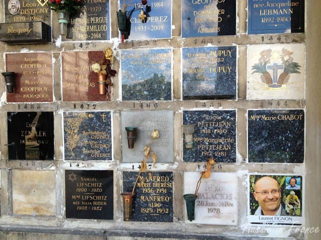 Columbarium at the back of the Crematorium at Père Lachaise Cemetary