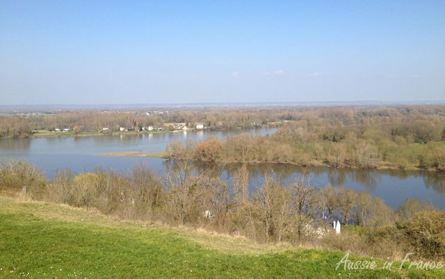 Panorama near Candes overlooking the confluence of the Vienne and Loire Rivers