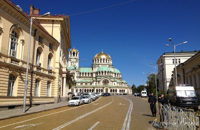 Street leading to Nevski Cathedral cordoned off by police