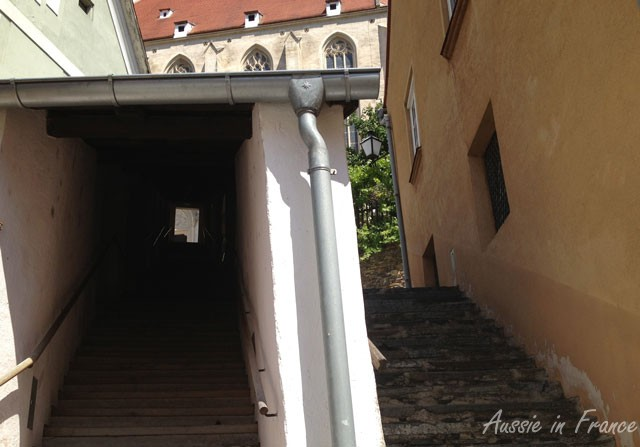 Covered stairs leading up to the church, very typical in the Wachau Valley