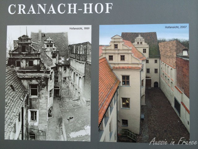 Restored courtyard before and after
