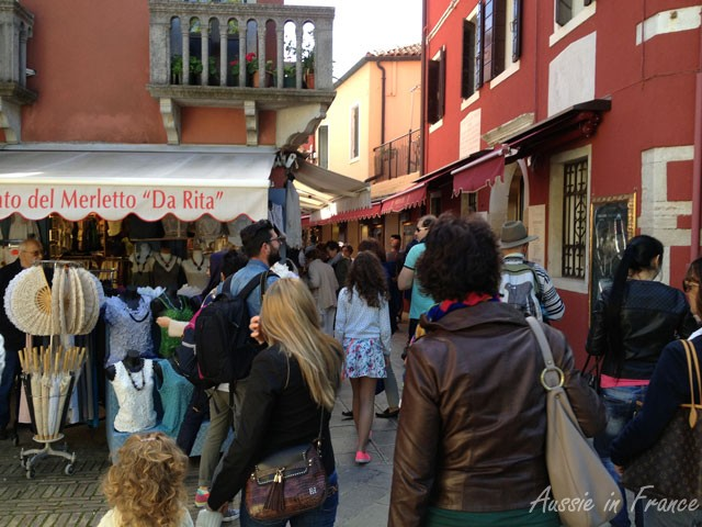 Crowded streets in Burano near the vaporetto