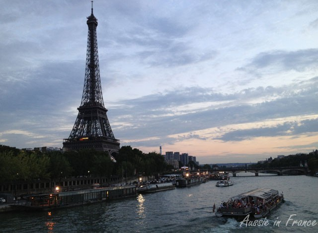 The Eiffel Tower at sunset seen from Debilly footbridge
