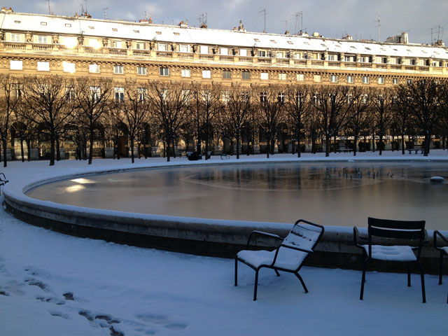 Empty chairs in the Palais Royal garden this morning