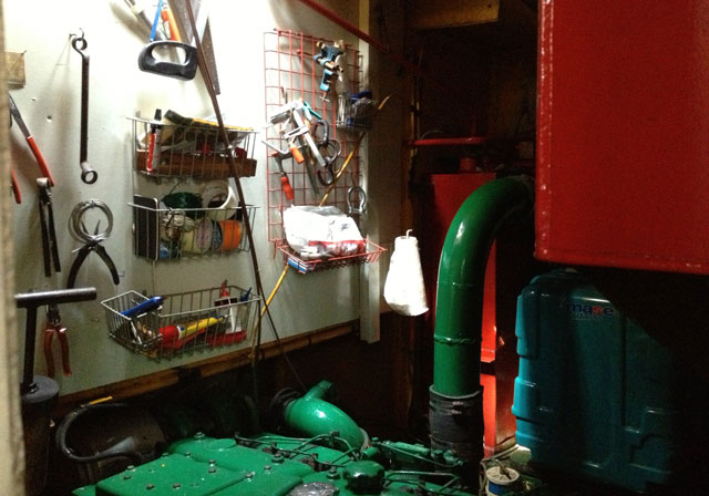 The gaily coloured engine room