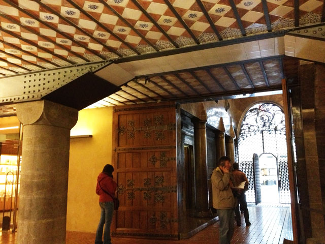 Fabulous gaudi interiors guell palace aussie in france for Entrance to rivet city