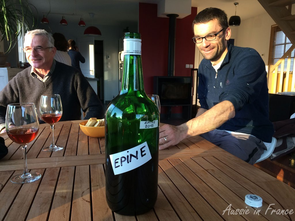 Christelle's father and Olivier with the épine