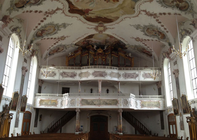 The balcony of the baroque church in Erbach